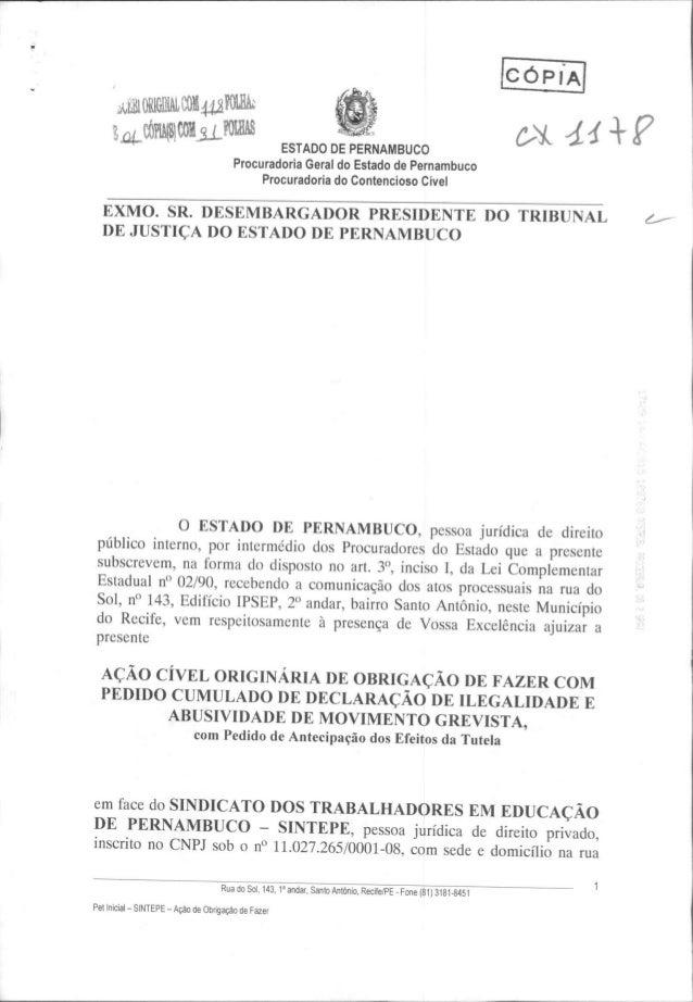 Petição inicial sobre greve dos professores