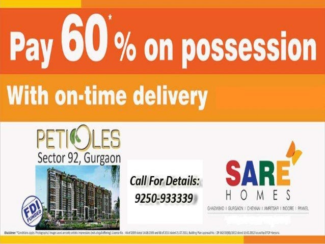 About SARE PetiolesSARE Homes (South Asian Real Estate) has launched 'Petioles',privacy apartments with Gurgaon's first lu...