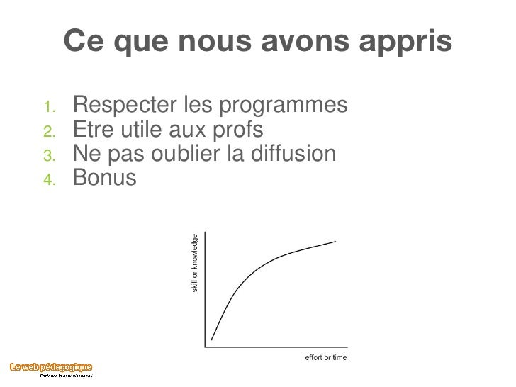 Ce que nous avons appris <ul><li>Respecter les programmes </li></ul><ul><li>Etre utile aux profs </li></ul><ul><li>Ne pas ...