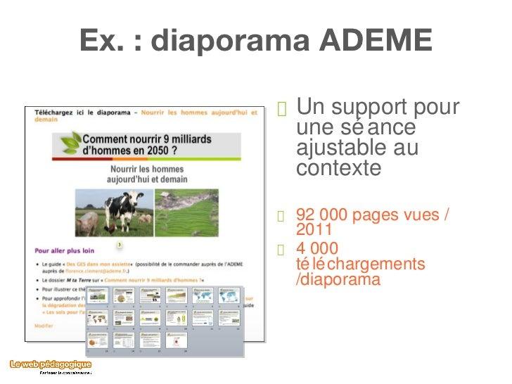 Ex. : diaporama ADEME <ul><li>Un support pour une séance ajustable au contexte </li></ul><ul><li>92 000 pages vues / 2011 ...