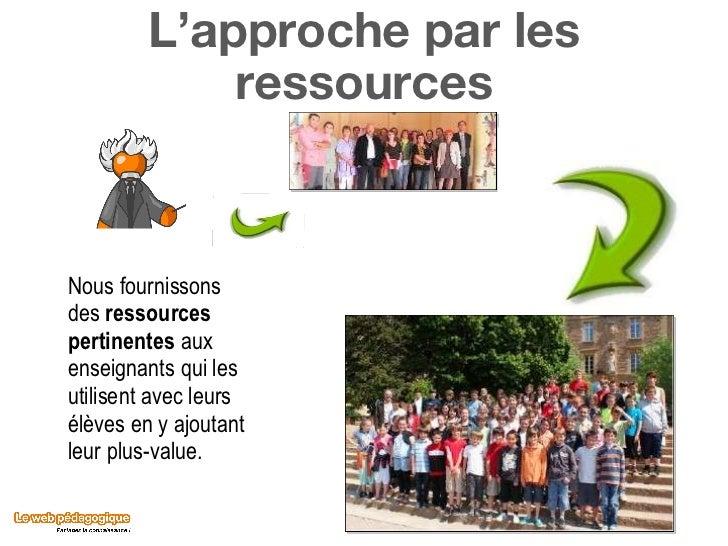L'approche par les ressources Nous fournissons des  ressources pertinentes  aux enseignants qui les utilisent avec leurs é...