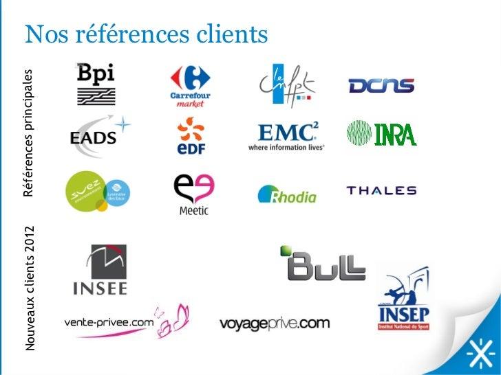 Nouveaux clients 2012   Références principales                                                 Nos références clients