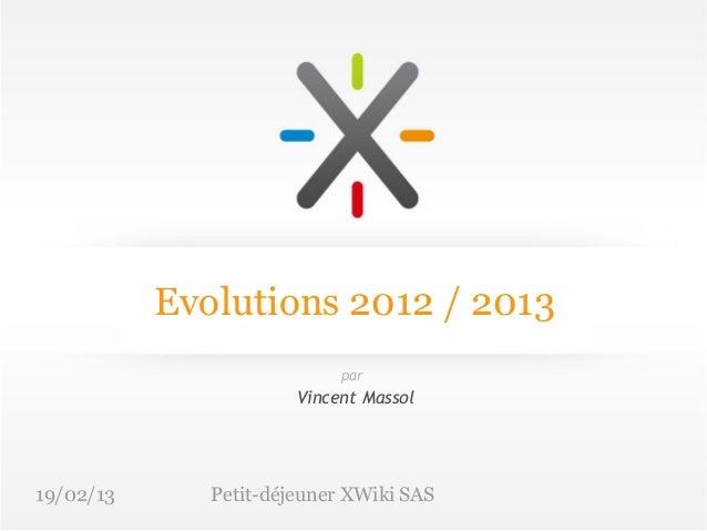 Evolutions 2012 / 2013                            par                       Vincent Massol19/02/13      Petit-déjeuner XWi...