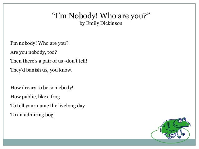 i m nobody who are you poem