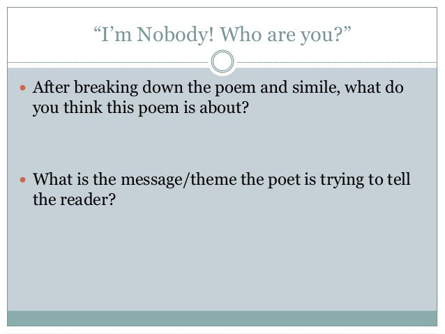 i am nobody who are you poem