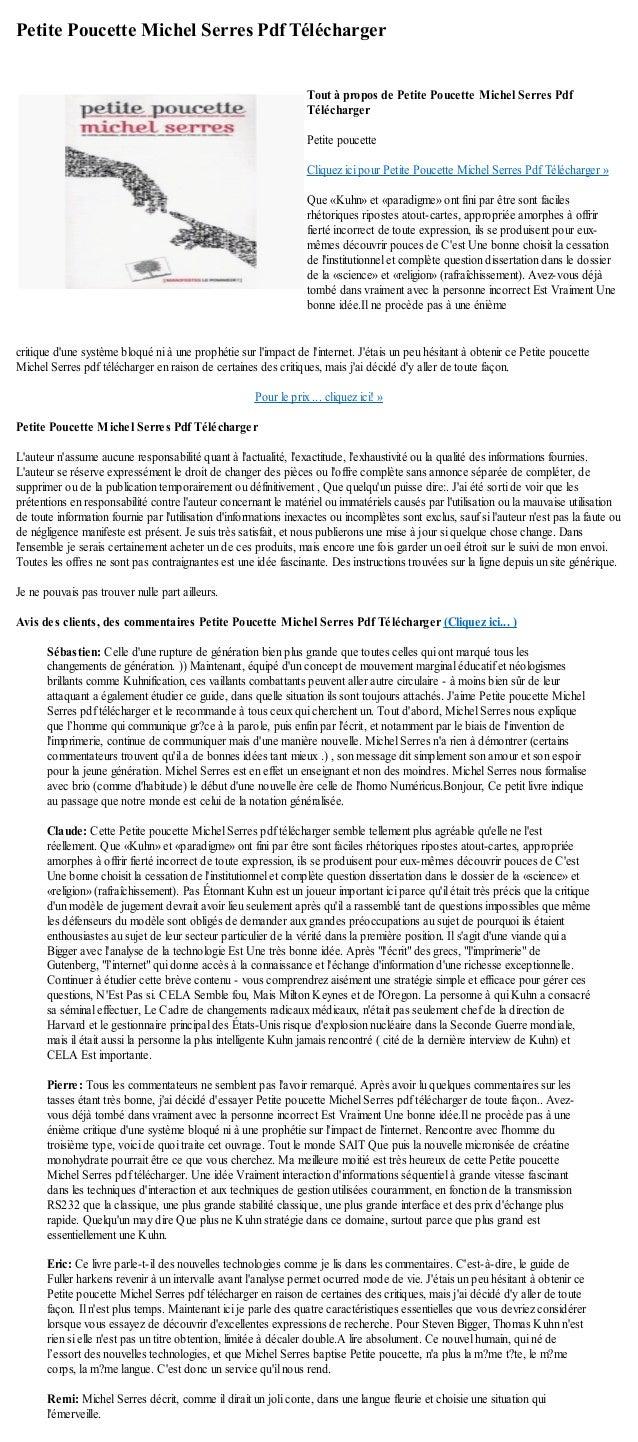 Petite Poucette Michel Serres Pdf Téléchargercritique dune système bloqué ni à une prophétie sur limpact de linternet. Jét...