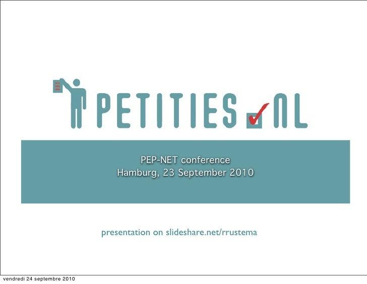PEP-NET conference                                 Hamburg, 23 September 2010                                  presentatio...