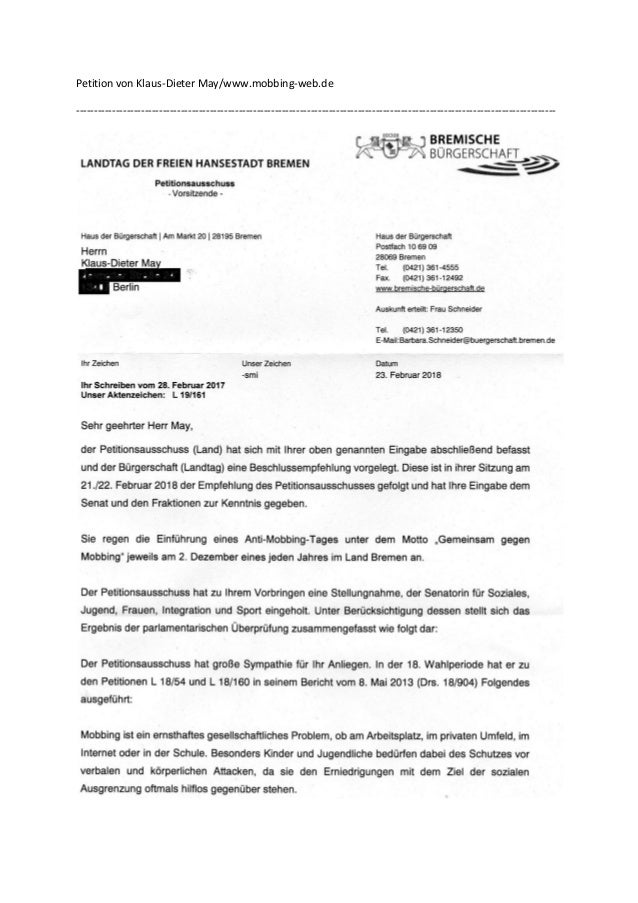 Petition von Klaus-Dieter May/www.mobbing-web.de -------------------------------------------------------------------------...