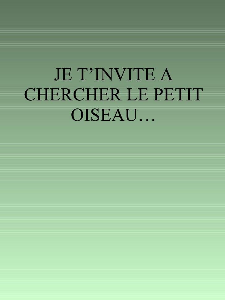 JE T'INVITE A CHERCHER LE PETIT OISEAU…