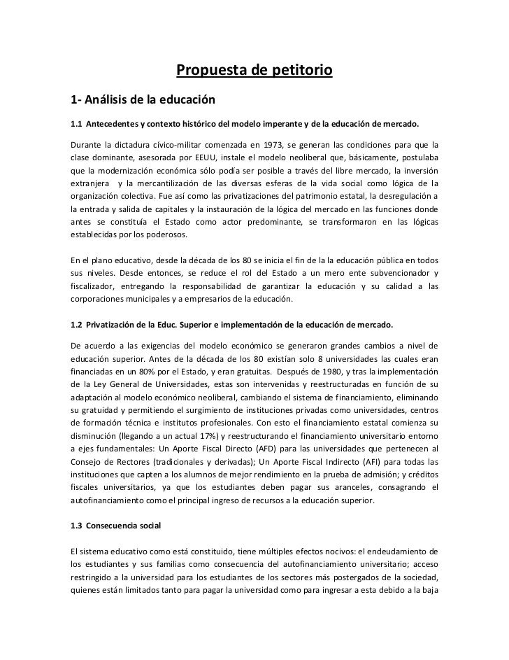 Propuesta de petitorio1- Análisis de la educación1.1 Antecedentes y contexto histórico del modelo imperante y de la educac...