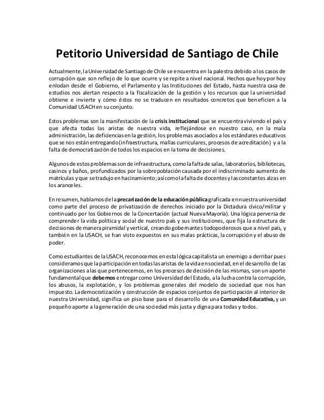 Petitorio Universidad de Santiago de Chile Actualmente,laUniversidadde Santiagode Chile se encuentra en la palestra debido...