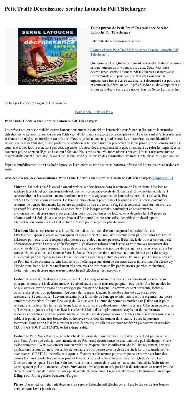 Petit Traité Décroissance Sereine Latouche Pdf Téléchargerde balayer le concept slogan de Décroissance.Pour le prix ... cl...