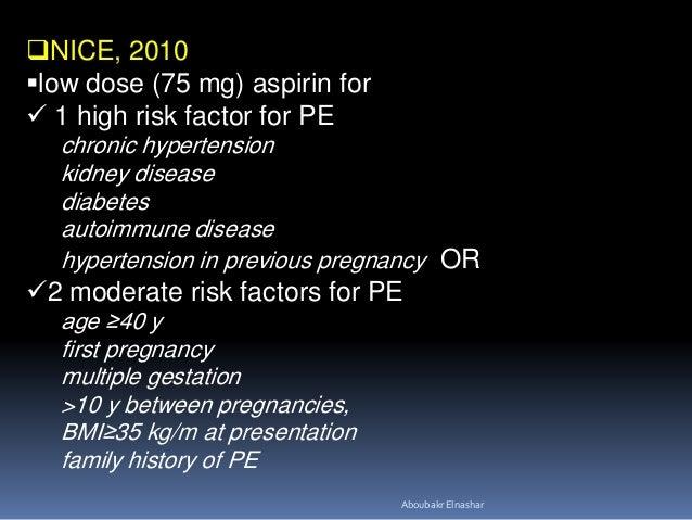 Low dose aspirin during pregnancy