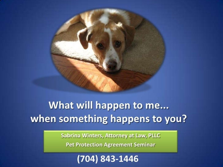 What will happen to me... when something happens to you?      Sabrina Winters, Attorney at Law, PLLC        Pet Protection...