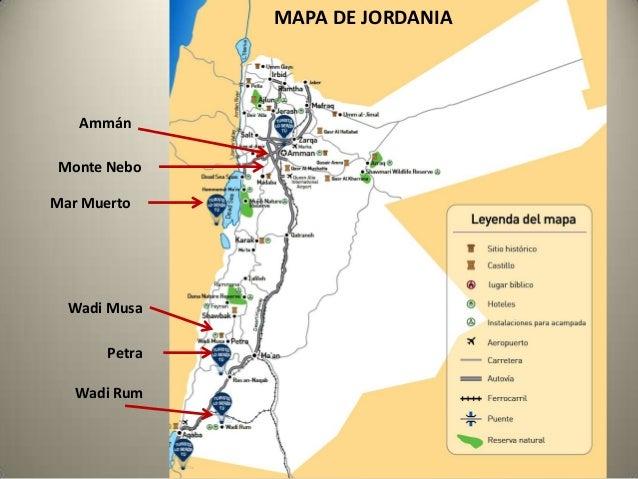 MAPA DE JORDANIA  Ammán Monte Nebo  Mar Muerto  Wadi Musa Petra Wadi Rum