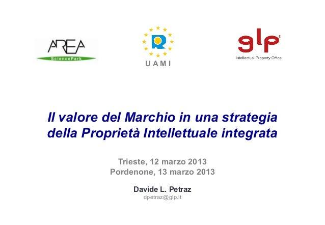 UAMIIl valore del Marchio in una strategiadella Proprietà Intellettuale integrata            Trieste, 12 marzo 2013       ...
