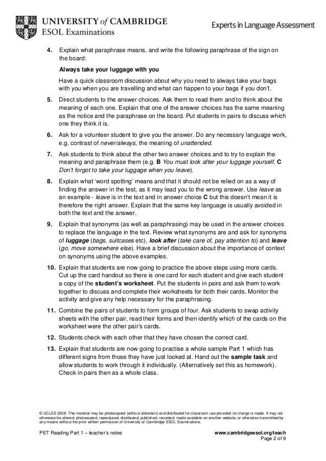 Pet reading – Paraphrasing Practice Worksheet