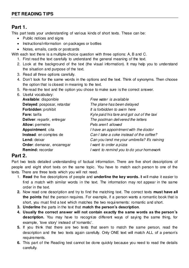 pet test reading and writing pdf