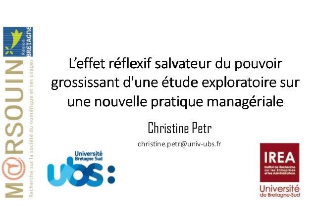 Christine Petr christine.petr@univ-ubs.fr L'effet réflexif salvateur du pouvoirL'effet réflexif salvateur du pouvoirL'effe...