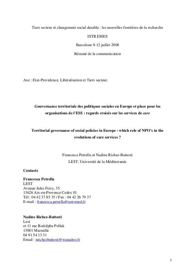 Tiers secteur et changement social durable : les nouvelles frontières de la recherche ISTR EMES Barcelone 9-12 juillet 200...
