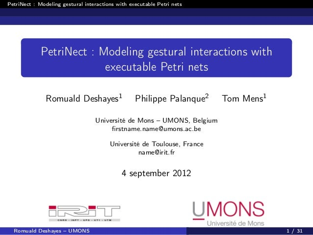 PetriNect : Modeling gestural interactions with executable Petri nets             PetriNect : Modeling gestural interactio...