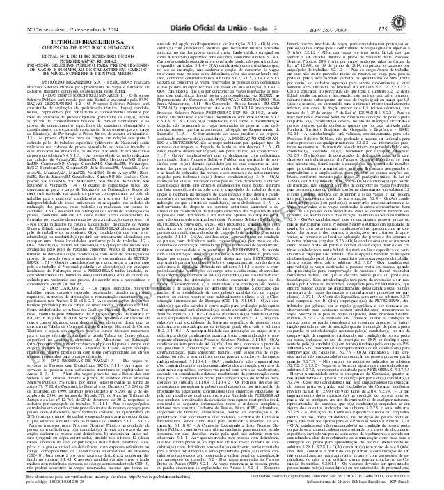 Nº 176, sexta-feira, 12 de setembro de 2014 ISSN 1677-7069 125  EXEMPLAR DE ASSINANTE DA IMPRENSA NACIONAL  Este documento...