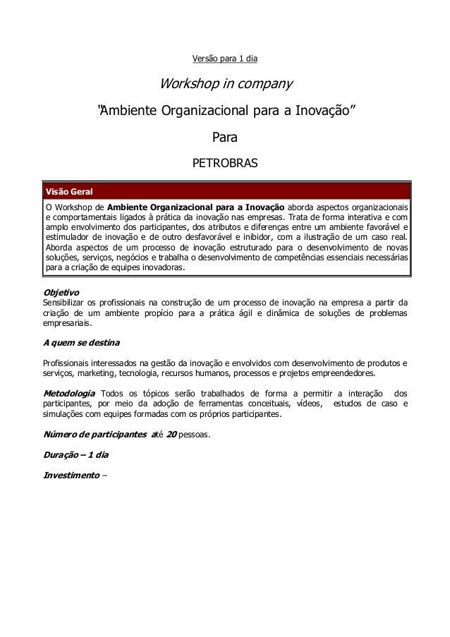 """Versão para 1 dia                              Workshop in company              """"Ambiente Organizacional para a Inovação"""" ..."""