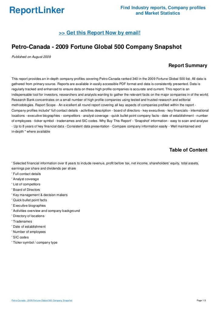 Petro Canada 2009 Fortune Global 500 Company Snapshot