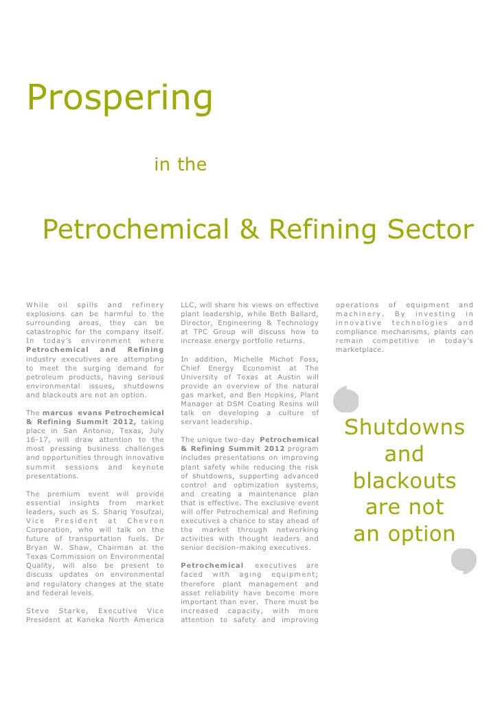 Prospering                                 in the    Petrochemical & Refining SectorWhile oil spills and refinery         ...