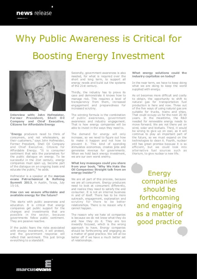 "Interview with: John Hofmeister,Former President, Shell OilCompany and Chief Executive,Citizens for Affordable Energy""Ener..."
