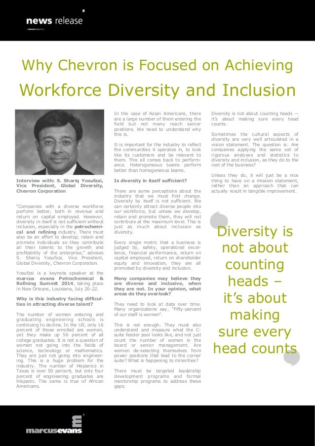 Interview with: S. Shariq Yosufzai, Vice President, Global Diversity, Chevron Corporation ―Companies with a diverse workfo...
