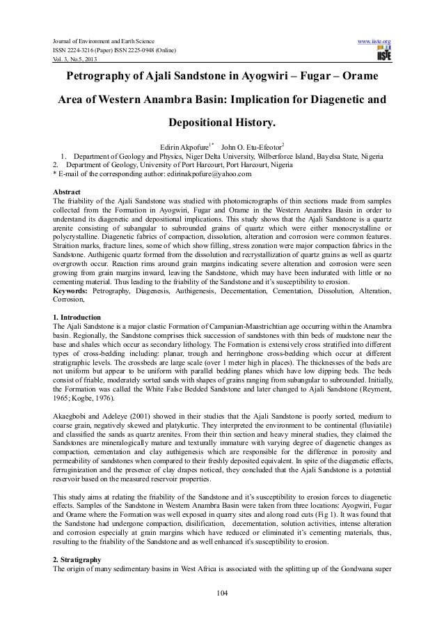 Journal of Environment and Earth Science www.iiste.orgISSN 2224-3216 (Paper) ISSN 2225-0948 (Online)Vol. 3, No.5, 2013104P...