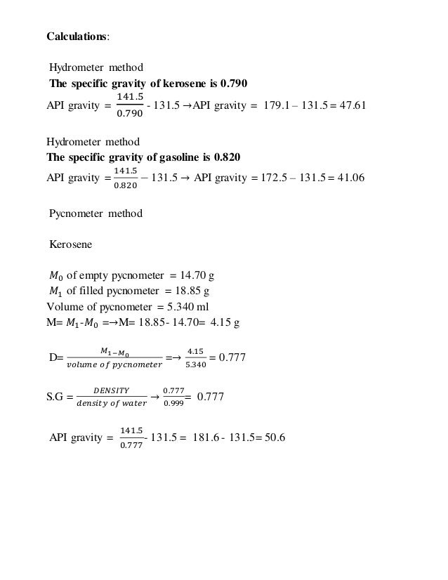 how to read specific gravity