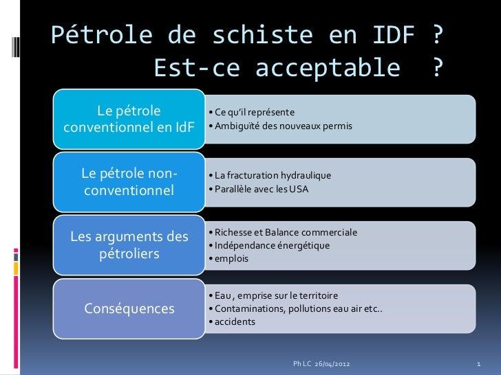 Pétrole de schiste en IDF ?       Est-ce acceptable ?    Le pétrole         • Ce qu'il représenteconventionnel en IdF   • ...
