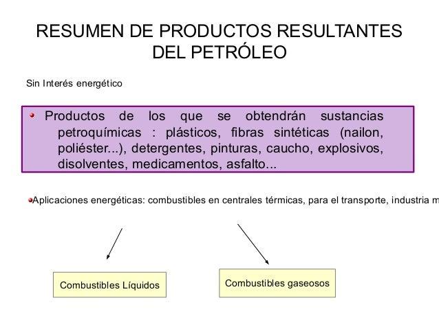 RESUMEN DE PRODUCTOS RESULTANTESDEL PETRÓLEOProductos de los que se obtendrán sustanciaspetroquímicas : plásticos, fibras ...