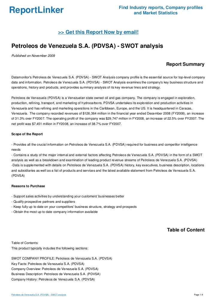 swot analysis of venezuela Concerns about venezuela's current economic and political situation using the  popular swot analysis, strengths  weaknesses, opportunities and threats.
