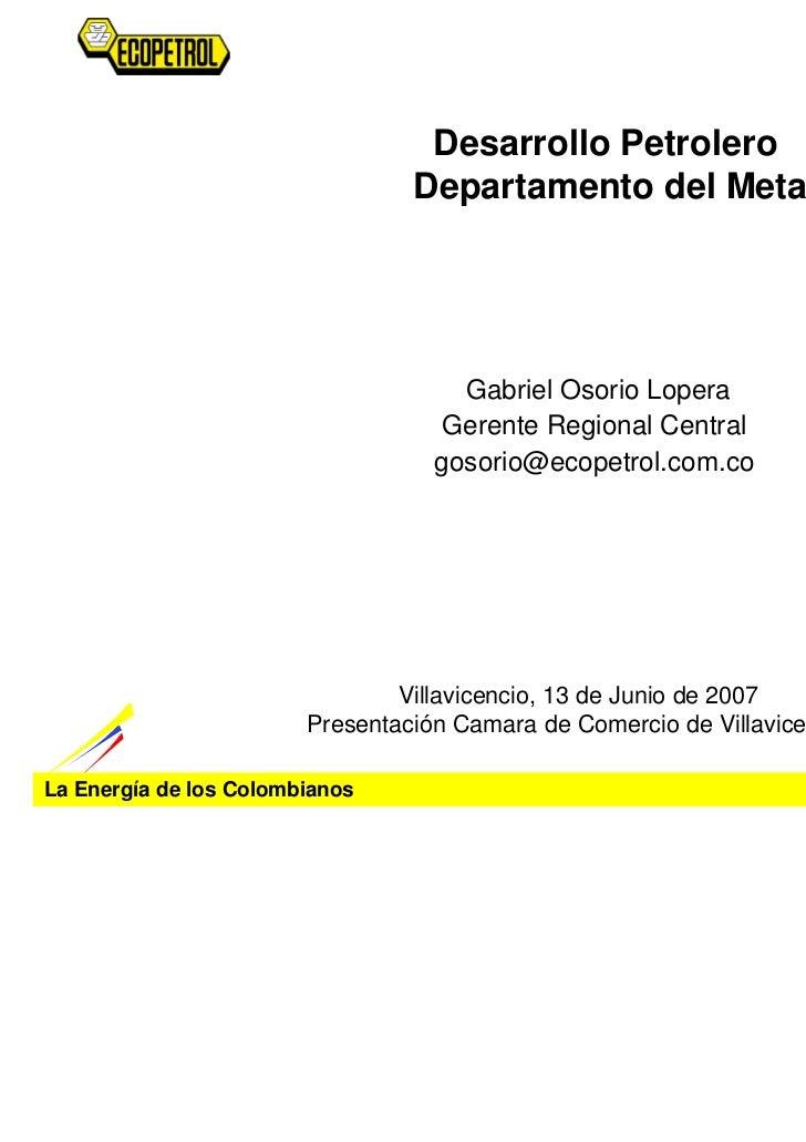 Desarrollo Petrolero                                 Departamento del Meta                                     Gabriel Oso...