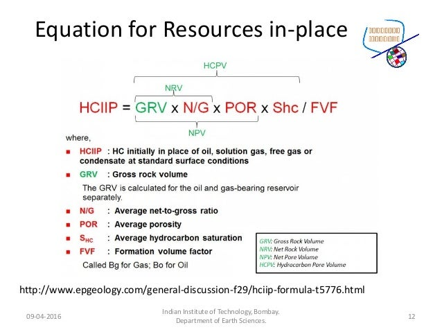 Equation for Resources in-place 09-04-2016 Indian Institute of Technology, Bombay. Department of Earth Sciences. 12 http:/...