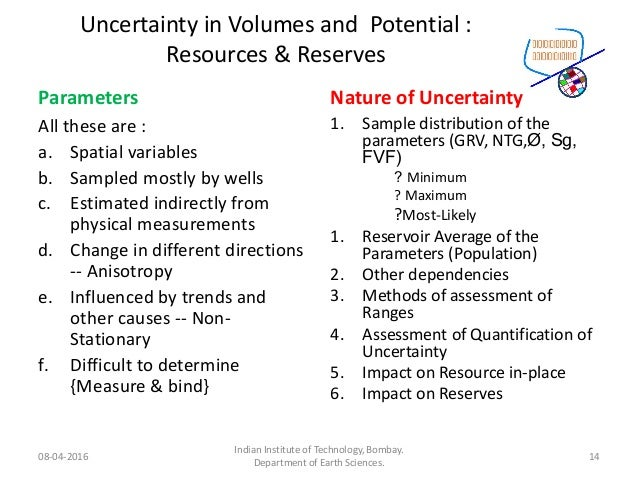 Uncertainty in Volumes and Potential : Resources & Reserves Parameters All these are : a. Spatial variables b. Sampled mos...