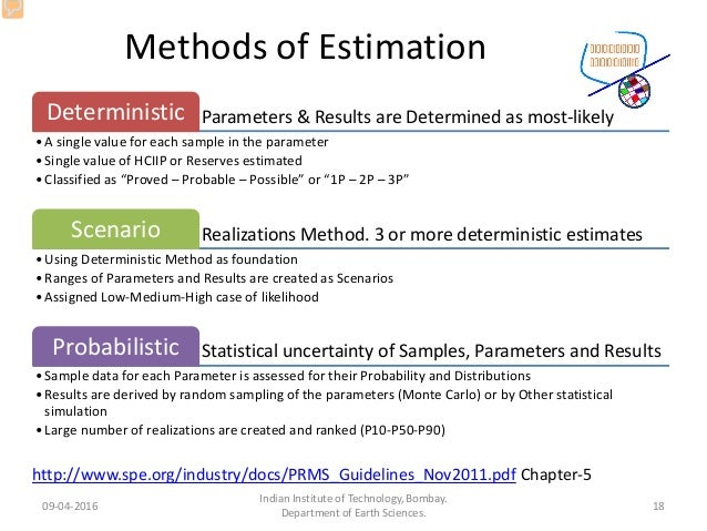 Methods of Estimation Parameters & Results are Determined as most-likelyDeterministic •A single value for each sample in t...