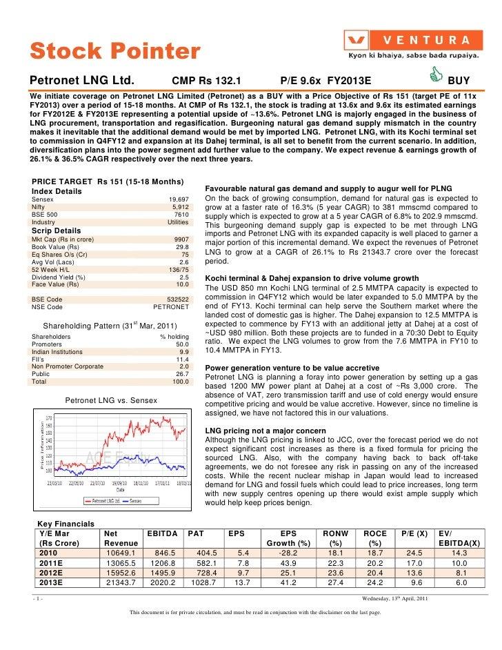 Stock PointerPetronet LNG Ltd.                               CMP Rs 132.1                                    P/E 9.6x FY20...