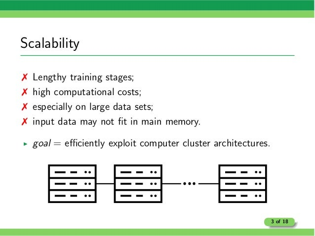 Scalability 7 Lengthy training stages; 7 high computational costs; 7 especially on large data sets; 7 input data may not fi...