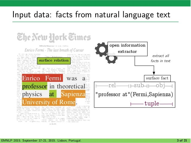 CORE: Context-Aware Open Relation Extraction with Factorization Machines Slide 3