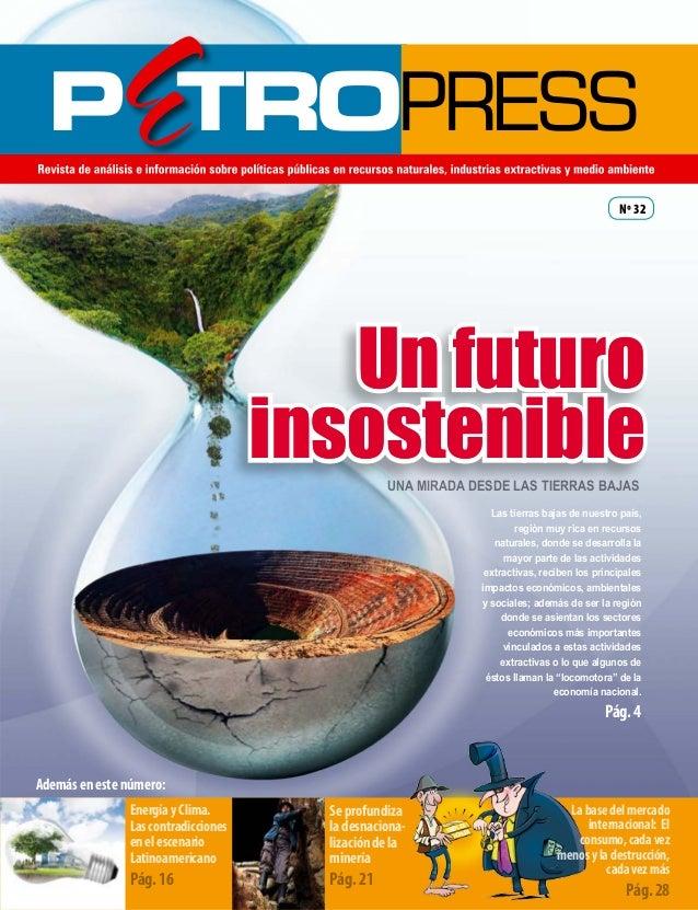 Nº 32  Un futuro insostenible UNA MIRADA DESDE LAS TIERRAS BAJAS Las tierras bajas de nuestro país, región muy rica en rec...