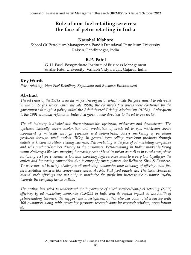Journal of Business and Retail Management Research (JBRMR) Vol 7 Issue 1 October 2012 A Journal of the Academy of Business...