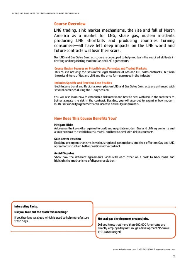 Petrosync - Lng & Gas Sales Contracts-Negotiation And Pricing Review
