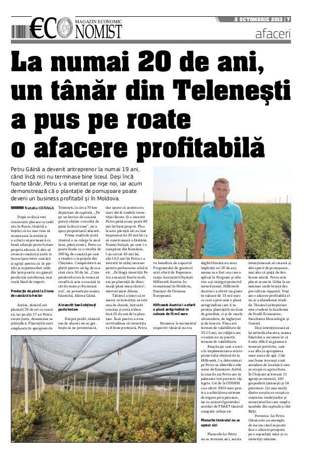 €c nomist magazin economic 2 octombrie 2013   7 afaceri La numai 20 de ani, un tânăr din Teleneşti a pus pe roate o afacer...