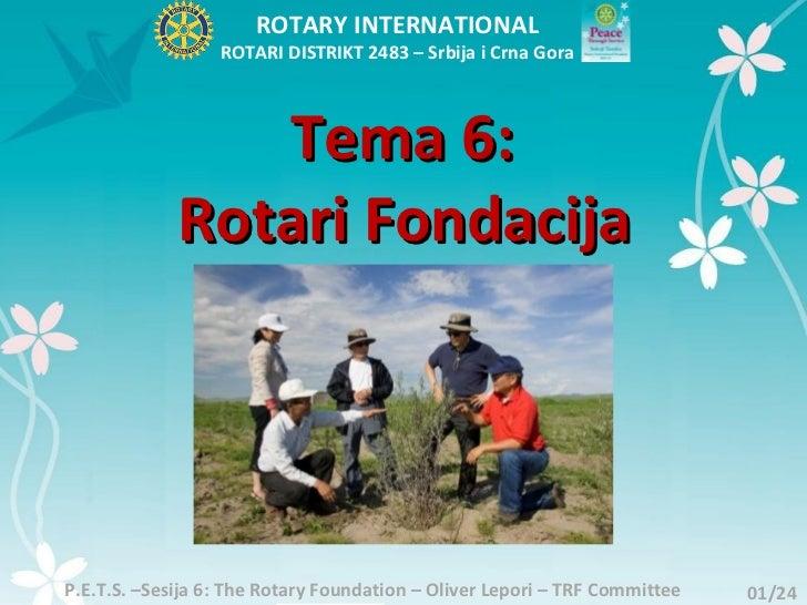 ROTARY INTERNATIONAL                  ROTARI DISTRIKT 2483 – Srbija i Crna Gora                Tema 6:             Rotari ...