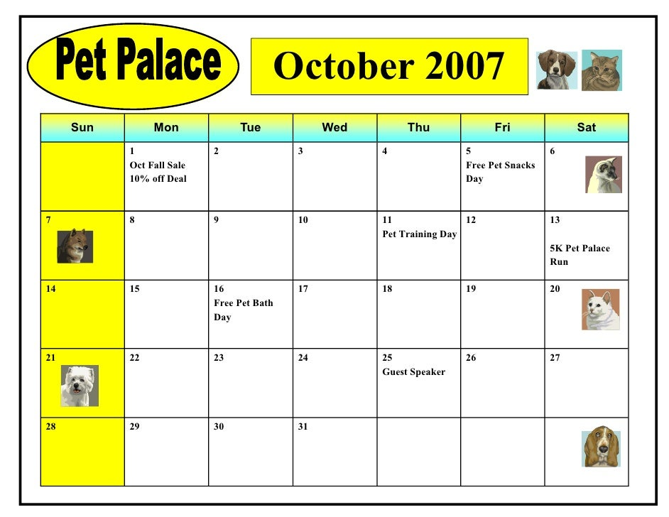October 2007      Sun        Mon             Tue             Wed        Thu              Fri              Sat            1...
