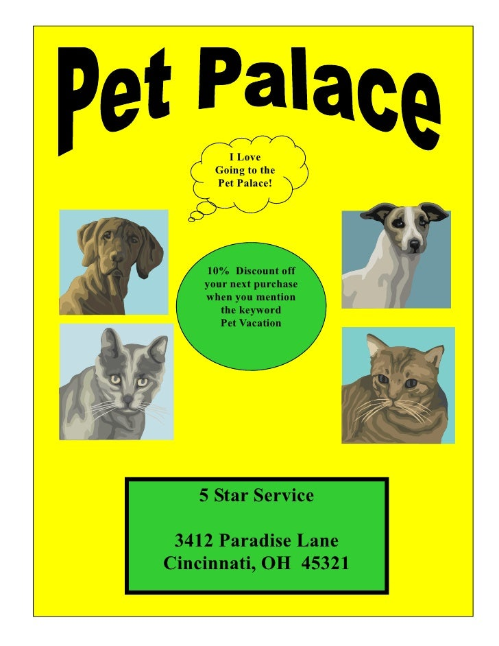I Love       Going to the       Pet Palace!         10% Discount off     your next purchase     when you mention        th...